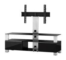 MD 8143 C-INX-BLK  -   stolek čirá skla, nerez, černá