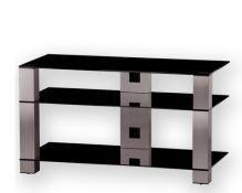PL 3405 B-INX - stolek 3 police, černá skla - nerezové nohy