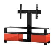 MD 8143 C-INX-RED  -   stolek čirá skla, nerez, červený