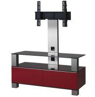 MD 8953 B-INX- RED - stolek černá skla,nerez,červená