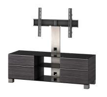 MD 8340 B-INX-WHT - Tv stolek černá-nerez-bílá